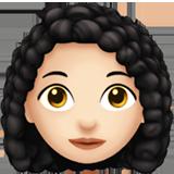 kadın kıvırcık saç emojisi